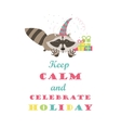 Funny raccoon celebrating holiday vector image