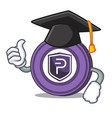 graduation pivx coin character cartoon vector image vector image