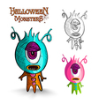 Halloween monsters one eye creature EPS10 file vector image
