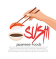 hand with chopsticks sushi vector image