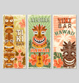 hawaii retro banners aloha tourism summer vector image vector image
