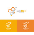 honeycombs and spoon logo combination vector image vector image