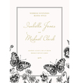 Invitation with butterflies and flowers vintage st vector image vector image