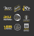 jazz festival logos set isolated on black vector image