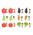 kids with vegetables small children and big vector image vector image