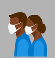 man and woman in protective masks vector image vector image
