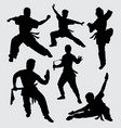 martial art silhouette vector image vector image