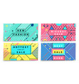 memphis style banners with geometric shapes vector image vector image