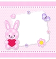 Pink bunny card vector image vector image