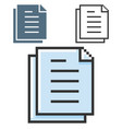pixel icon documents stack in three variants vector image vector image