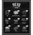 Retro menu of seafood and delicacies on the vector image