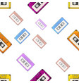 seamless pattern of multicolored audio cassette vector image vector image