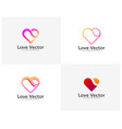 set love heart creative logo concepts abstract vector image vector image