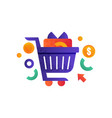 shopping symbols shopping cart with gift box vector image
