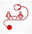 Stethoscope make malefemale and heart symbol vector image vector image