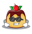 super cool pudding character cartoon style vector image vector image