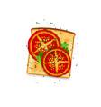 tomato toast vector image vector image