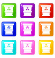 trashcan containing radioactive waste icons 9 set vector image vector image