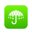wet umbrella icon green vector image