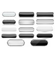 white and black glass 3d buttons with chrome frame vector image vector image