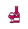 wine bottle and glass cup liquor celebration drink vector image vector image