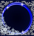 winter background with neon ring and snowflakes vector image vector image