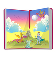 Open book about young knight and two dragons vector image