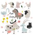 set of cute farm animals vector image