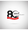 80 years anniversary logo with ribbon and hand vector image vector image