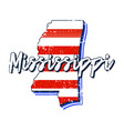 american flag in mississippi state map grunge vector image vector image