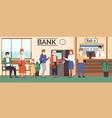 bank queue customers in masks waiting vector image