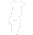 Black White Portugal Outline Map vector image vector image