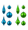 blue and green isolated christmas balls set vector image vector image