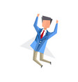 businessman happily jumping cartoon vector image vector image