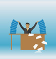 businessman with a stack of documents on his table vector image