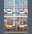 car production conveyor automatic assembly line vector image vector image