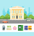 cartoon building bank on a city landscape vector image