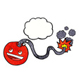 cartoon burning bomb with thought bubble vector image vector image