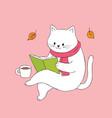 cartoon cute cat reading book vector image
