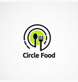 circle food logo designs with line art concept vector image vector image