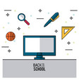 color poster of back to school with computer in vector image