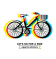 colorful bicycle with basket and text let vector image