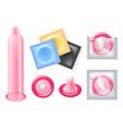 condom icons set vector image vector image