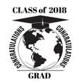 congratulations grad emblem badge template vector image vector image