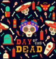 day dead happy sugar skull seamless pattern vector image