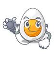 doctor cartoon boiled egg sliced for breakfast vector image