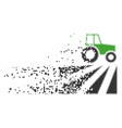 farm field with tractor dissolved pixel icon vector image vector image