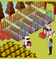 farm operator robots composition vector image vector image