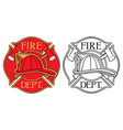 fire department or firefighters maltese cross vector image vector image