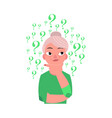 flat old elderly woman thinking portrait vector image